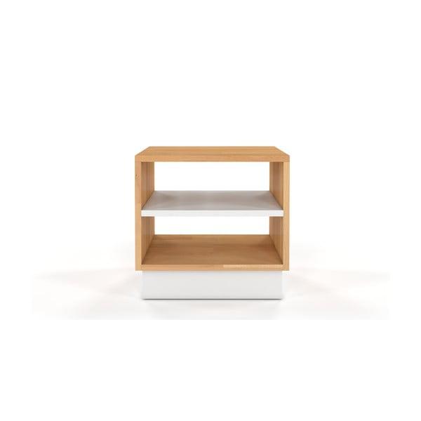 Noční stolek z bukového a borovicového dřeva s bílými detaily SKANDICA Finn