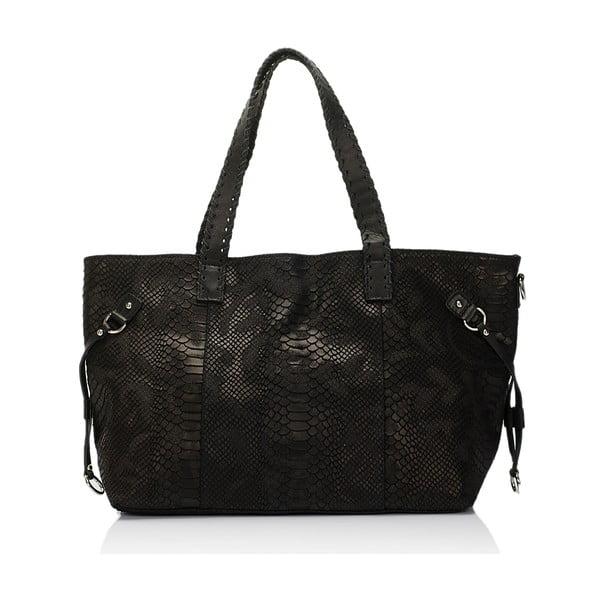 Kožená kabelka Piton, černá