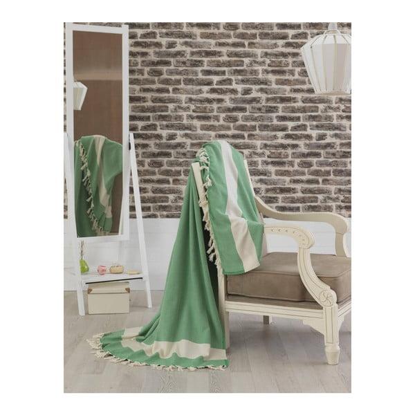Zelený bavlnený pléd na posteľ Baliksirfi Green, 200 × 240 cm