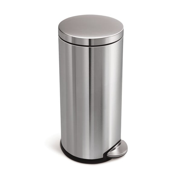 Stříbrný matný pedálový koš simplehuman, 30 l
