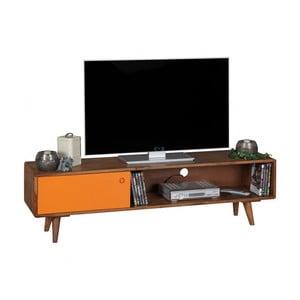 Hnědo-oranžová TV komoda z masivního sheeshamového dřeva Skyport REPA, výška 40 cm