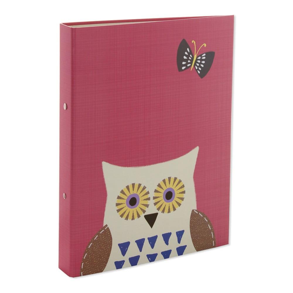 Růžové desky na dokumenty A4 GO Stationery Owls