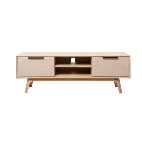 Stolik pod TV z białego dębowego drewna Unique Furniture Vivara