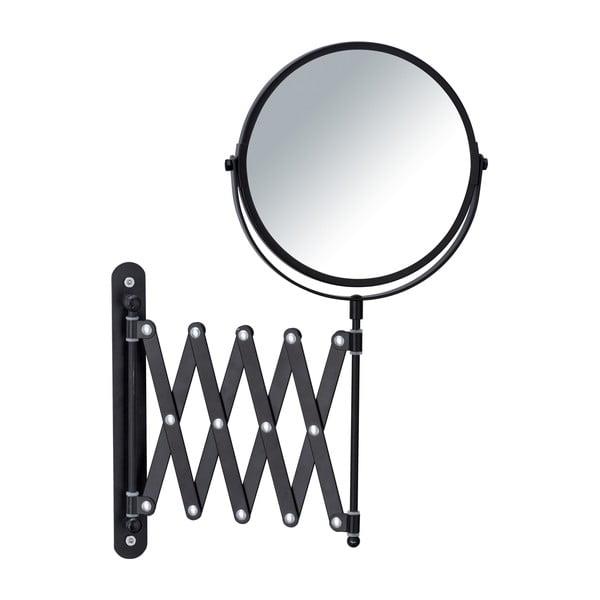 Czarne ścienne lusterko kosmetyczne z teleskopowym uchwytem Wenko Exclusive