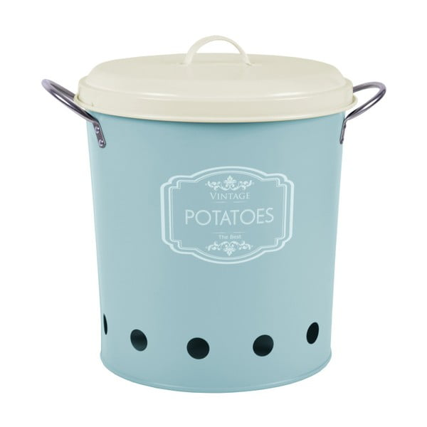 Niebieski pojemnik blaszany na ziemniaki Ego Dekor,10l