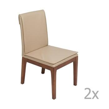 Set 2 scaune cu structură din lemn de stejar Santiago Pons Donato, crem de la Santiago Pons