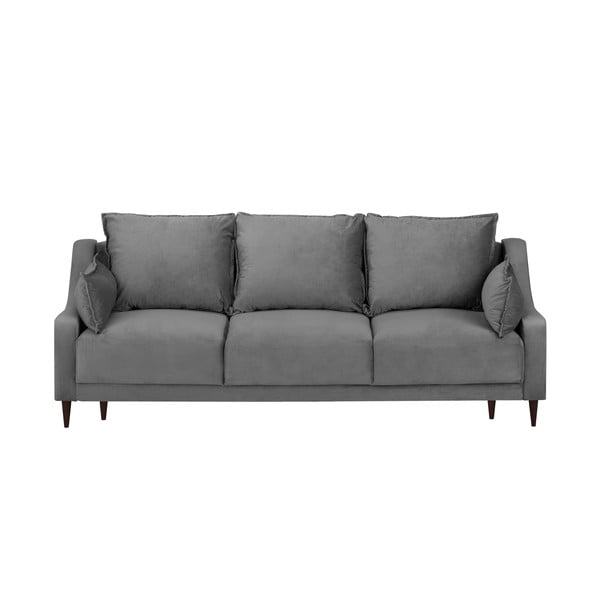 Šedá sametová rozkládací pohovka s úložným prostorem Mazzini Sofas Freesia, 215 cm