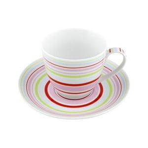 Porcelánový šálek s podšálkem Lines, barevný 4 ks