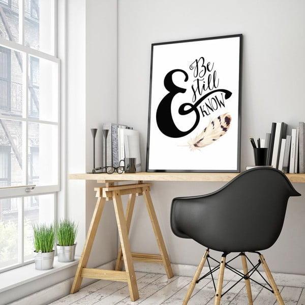 Plakát v dřevěném rámu Be still, 38x28 cm