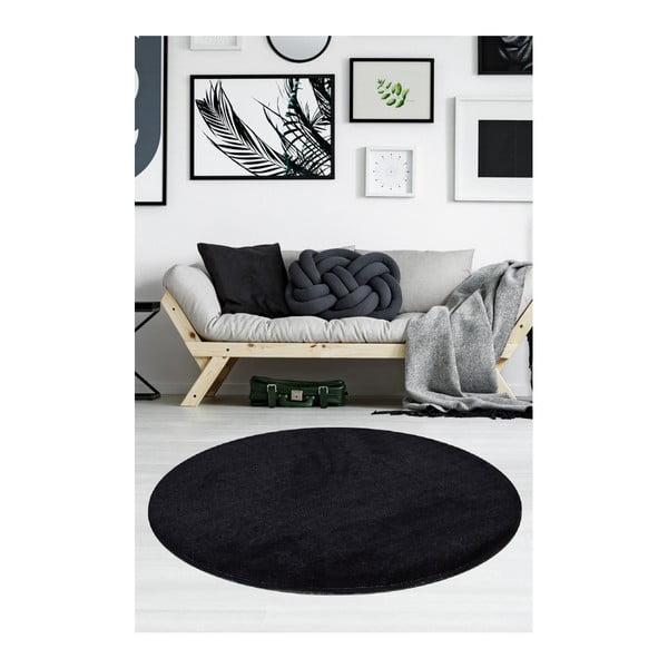 Černý koberec Milano, ⌀90cm