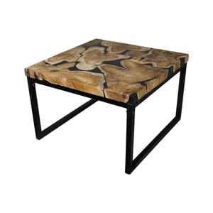 Konferenční stolek z kovu a teakového dřeva HSM collection Salon, 60 x 37 cm