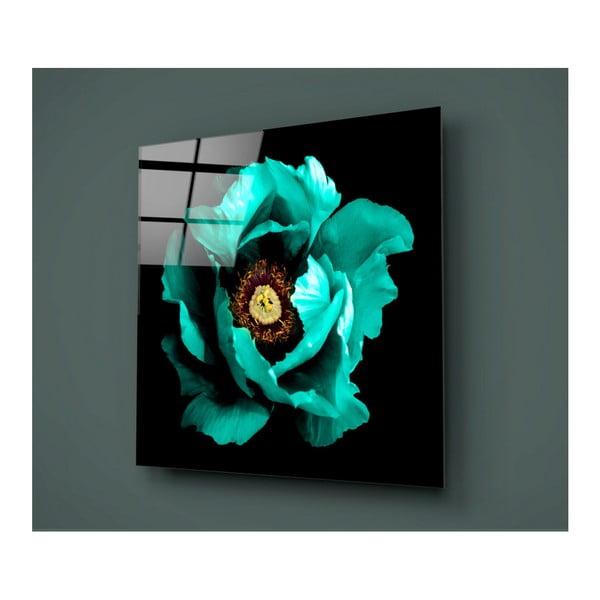 Černo-tyrkysový skleněný obraz Insigne Calipsa Turq, 30x30cm