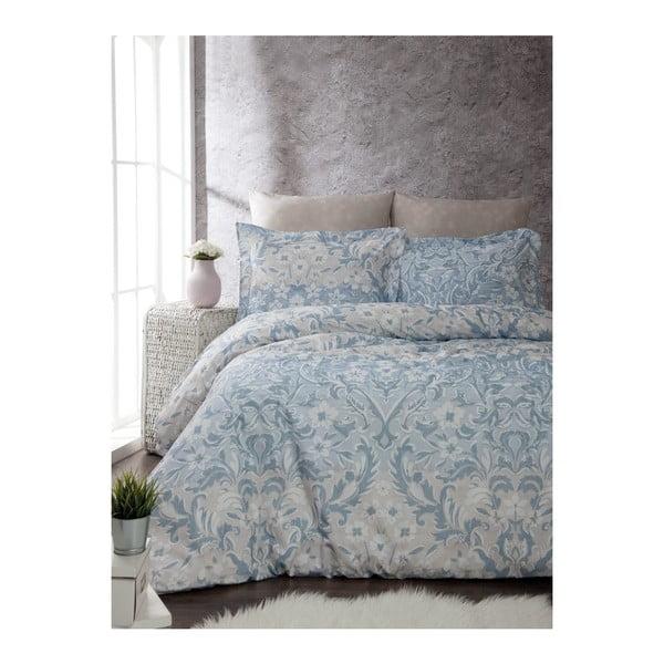 Lenjerie cu cearșaf din bumbac ranforce pentru pat dublu Floral, 200 x 220 cm