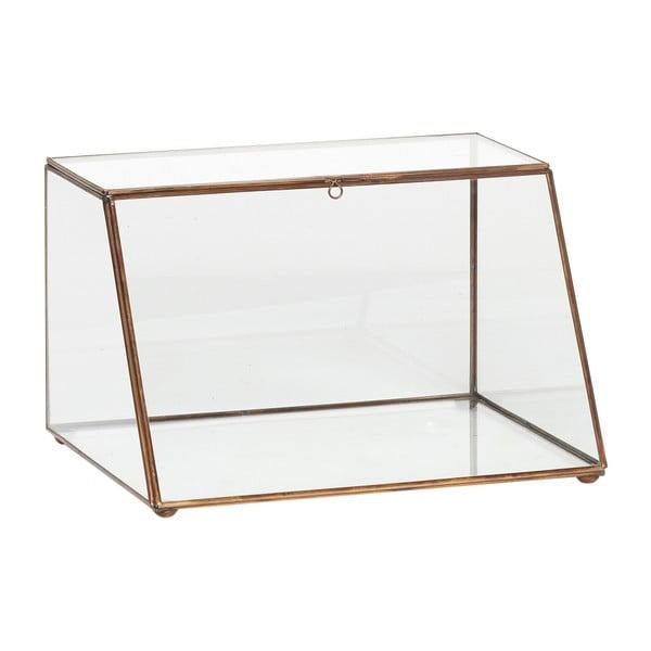 Presklený úložný box s mosadznými detailmi Hübsch Dulio, výška 19 cm