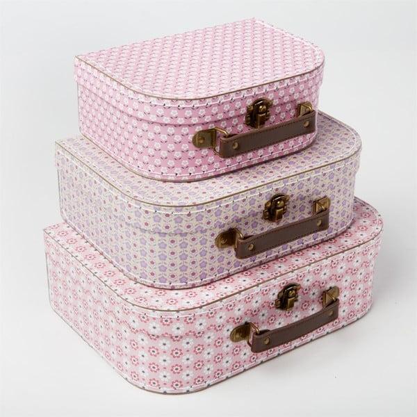 Sada 3 růžových kufříků Sass & Belle Daisy