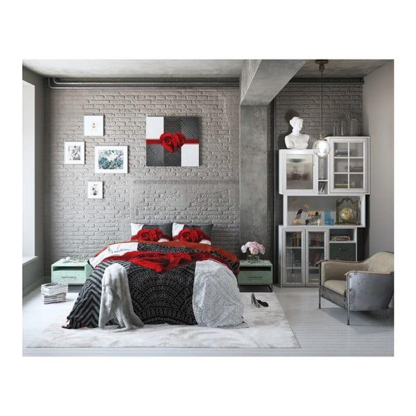 Lenjerie de pat din bumbac Dreamhouse Garden Rose, 240 x 200 cm, roșu