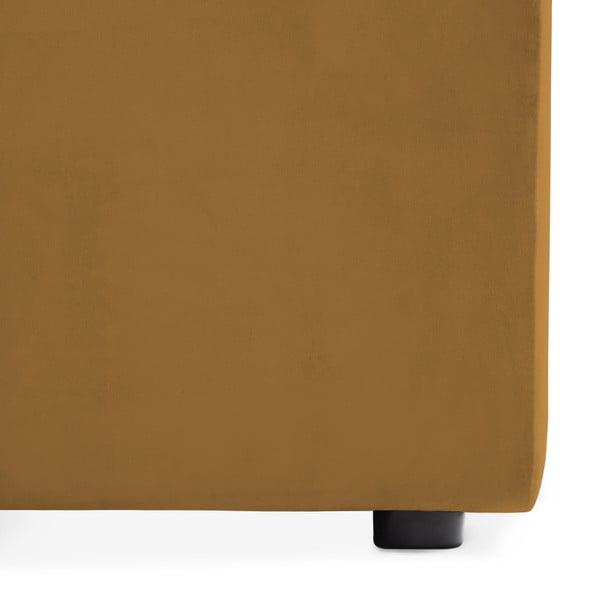 Hořčicově žlutá dvoumístná modulová pohovka s podnožkou Vivonita Velvet Cube