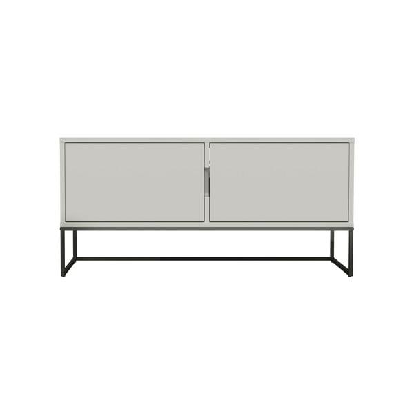 Biała 2-drzwiowa szafka pod TV z metalowymi nogami w czarnym kolorze Tenzo Lipp, szer. 118 cm