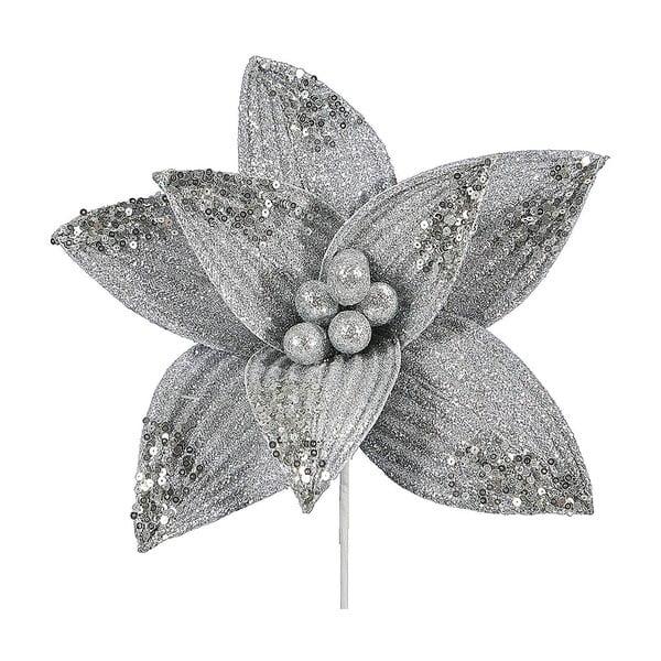 Decorațiune din plastic în formă de floare pentru Crăciun DecoKing Rea, argintiu
