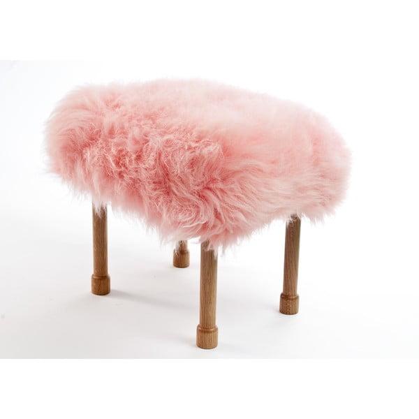 Stolička z ovčí kůže Megan Baby Pink