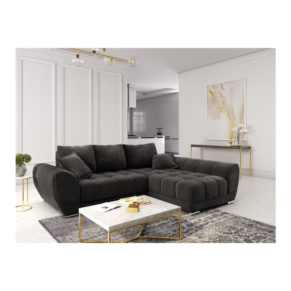 Canapea extensibilă cu înveliș de catifea Windsor & Co Sofas Nuage, pe partea dreaptă, maro închis