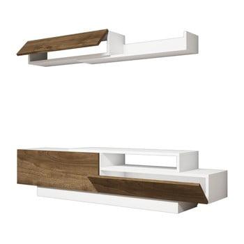 Set comodă TV și poliță perete cu detalii cu aspect de lemn de nuc Ratto Elda, alb imagine