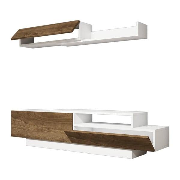 Komplet białej szafki pod TV i półki z detalami z dekorem drewna orzecha Ratto Elda