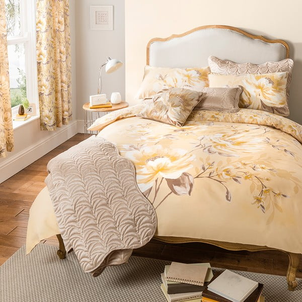 Přehoz přes postel Flora Charston Gold, 240x260 cm