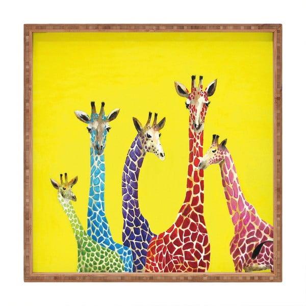 Tavă decorativă din lemn Giraffes, 40x40cm