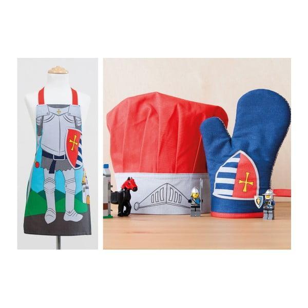 Dětská sada zástěry, čepice a kuchyňské rukavice Knight