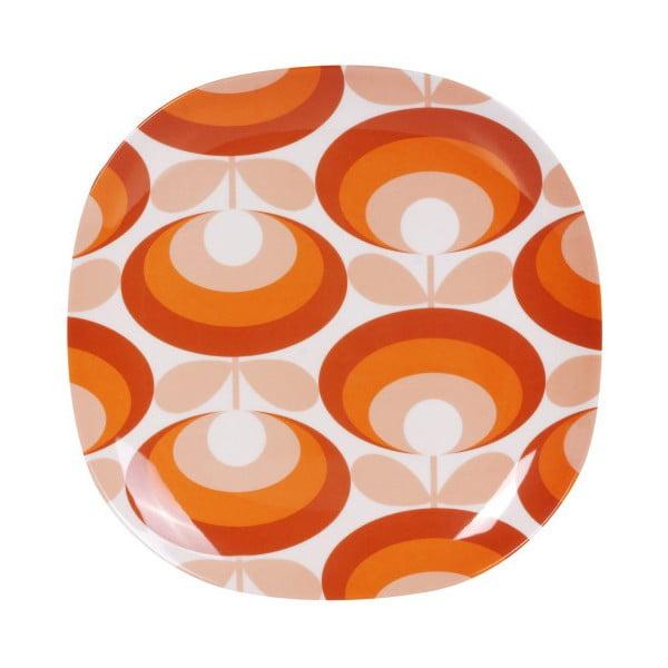 Oranžovobílý talíř Orla Kiely Flower