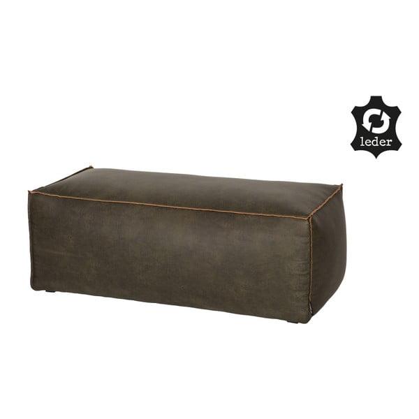 Rodeo sötétzöld puff újrahasznosított bőrhuzattal - BePureHome