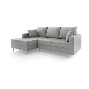 Canapea extensibilă cu 4 locuri și spațiu de depozitare Mazzini Sofas Aubrieta, pe partea stângă, gri imagine