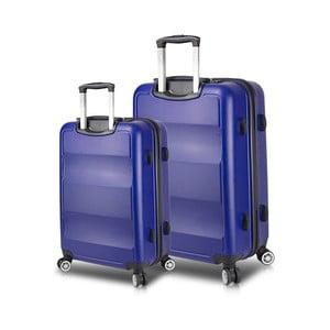 Sada 2 modrých cestovních kufrů na kolečkách s USB porty My Valice LASSO Large & Medium