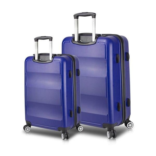 LASSO Large & Medium 2 kék görgős bőrönd USB csatlakozóval - My Valice