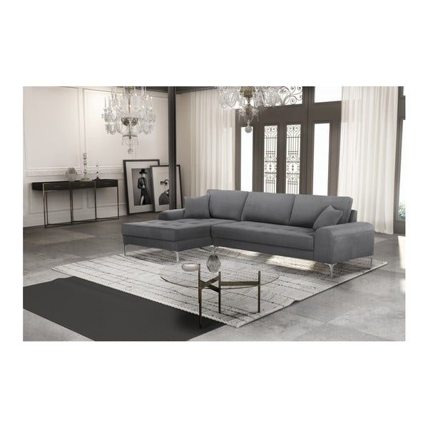 Set canapea gri cu șezlong pe partea stângă, 4 scaune gri-bej și saltea 160 x 200 cm Home Essentials