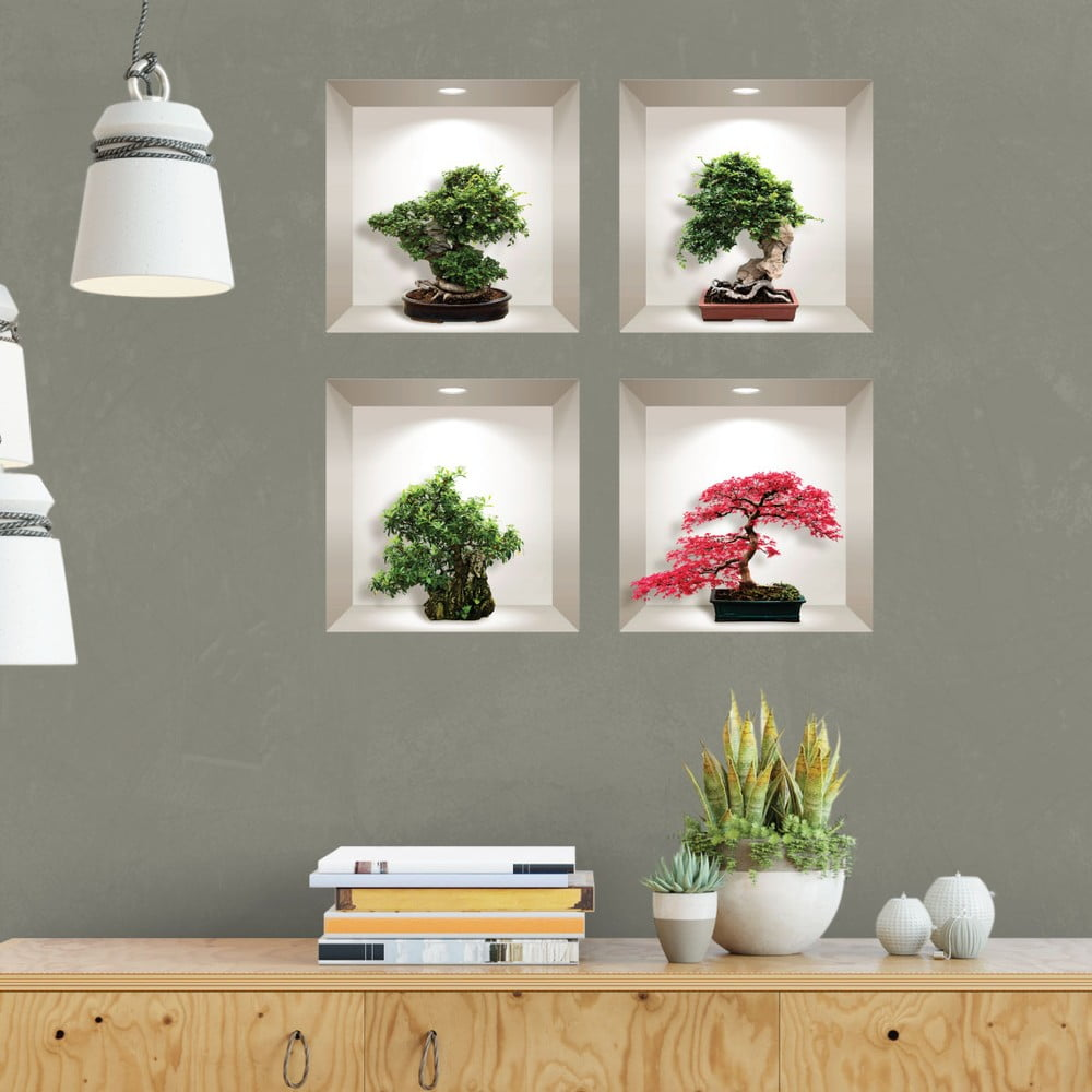 Produktové foto Sada 4 3D samolepek na zeď Ambiance Bonsai Maple