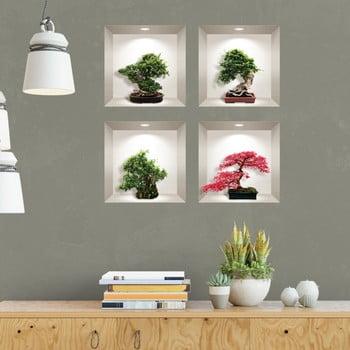 Set 4 autocolante 3D pentru perete Ambiance Bonsai Maple