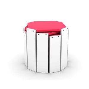 Sada 3 bílých stohovatelných odkládacích stolků s růžovým detailem Rafevi Hansel
