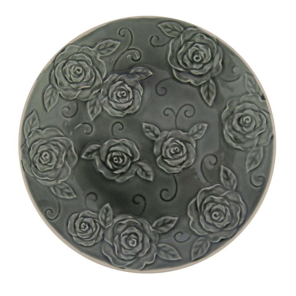 Tmavě zelený ozdobný talíř Antic Line Roses, ⌀ 25,5 cm
