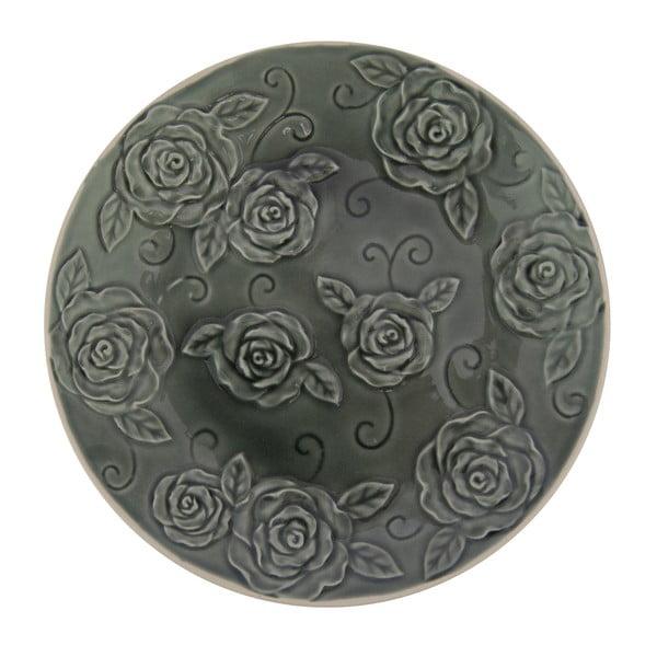 Tmavě zelený ozdobný talíř Antic Line Roses, ⌀25,5cm