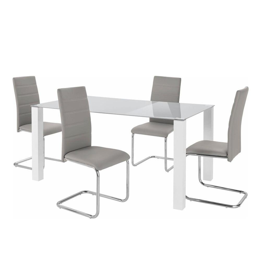 Sada stolu a 4 šedých židlí Støraa Naral