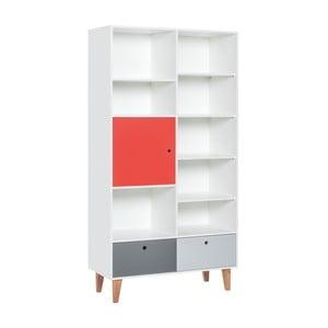 Knihovna s červenými dvířky z dubového dřeva Vox Concept, 105 x 215 cm