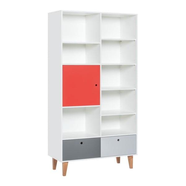 Knižnica s červenými dvierkami z dubového dreva Vox Concept, 105 × 215 cm