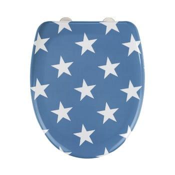 Capac WC cu închidere lentă Wenko Stella Blue Stars, 45 x 38 cm, albastru imagine