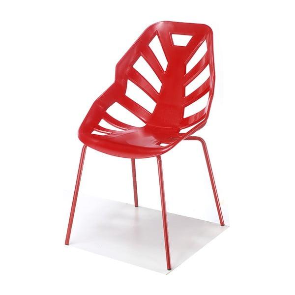 Set 2 červených židlí Ninja, lakované červené nohy