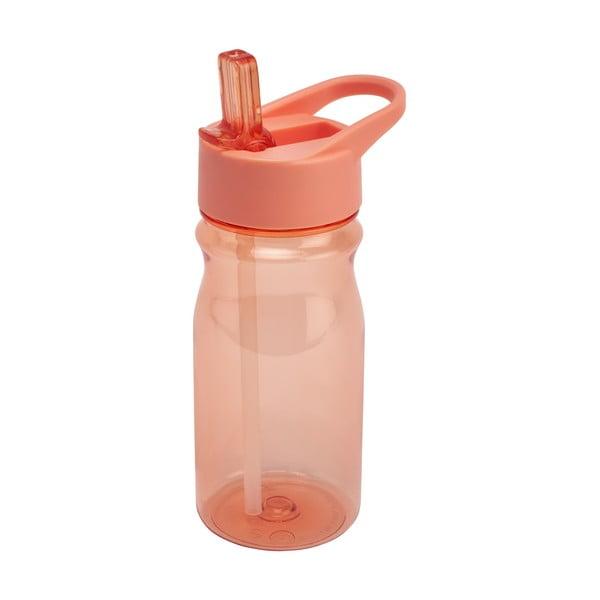 Oranžová fľaša s vrchnákom a slamkou Addis Bottle Coral, 500 ml