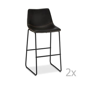 Sada 2 barových černých židlí Furnhouse Indiana