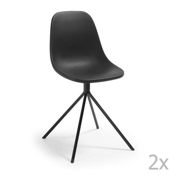 Sada 2 černých jídelních židlí La Forma Mint