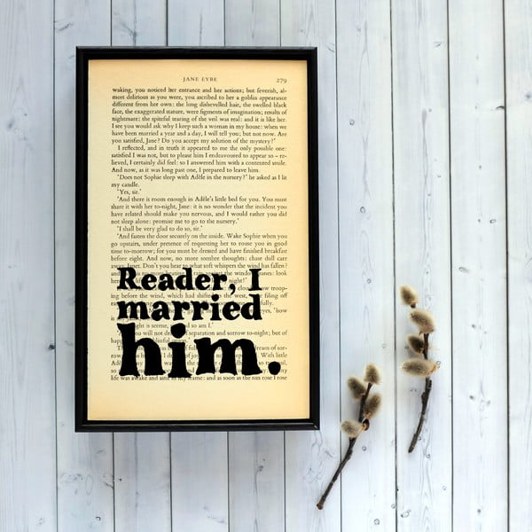 Plakát v dřevěném rámu Jane Eyre Wedding
